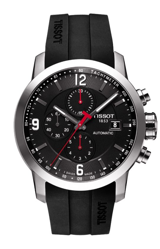 ca4a854748c Tissot PRC 200 Men s Automatic Chrono Black Dial Watch with Black Rubber  Strap
