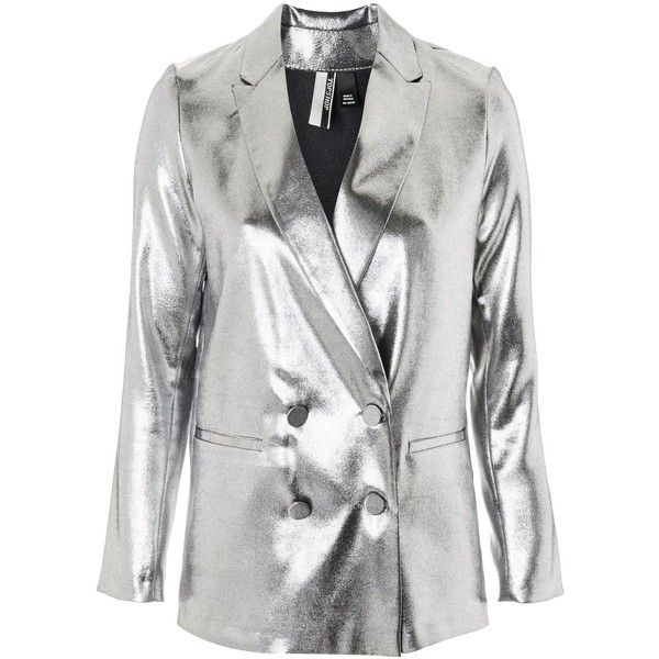 Topshop Metallic Suit Jacket (1.575 CZK) ❤ liked on Polyvore featuring outerwear, jackets, topshop, silver, white jacket, double breasted jacket, silver metallic jacket, white double breasted jacket and topshop jackets