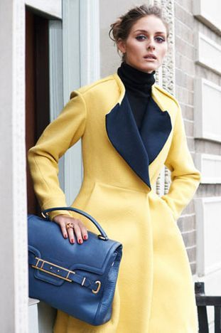 Yellow coat with blue accessories ....