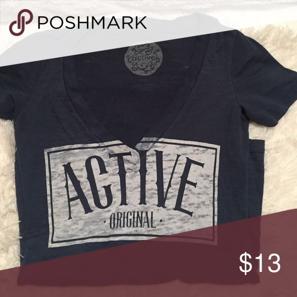 Small blue active ride shop shirt! V-Neck blue shirt ✨ Active Ride Shop Tops Tees - Short Sleeve