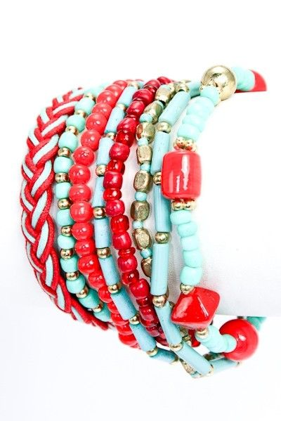 Turquoise and Red Bracelet Stack
