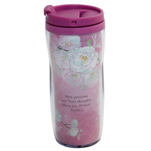 Cherry Blossoms Polymer Travel Mug - Psalm 139:17  Price : $9.99 http://www.veritasgifts.com/Cherry-Blossoms-Polymer-Travel-Mug/dp/B00BHL91VK