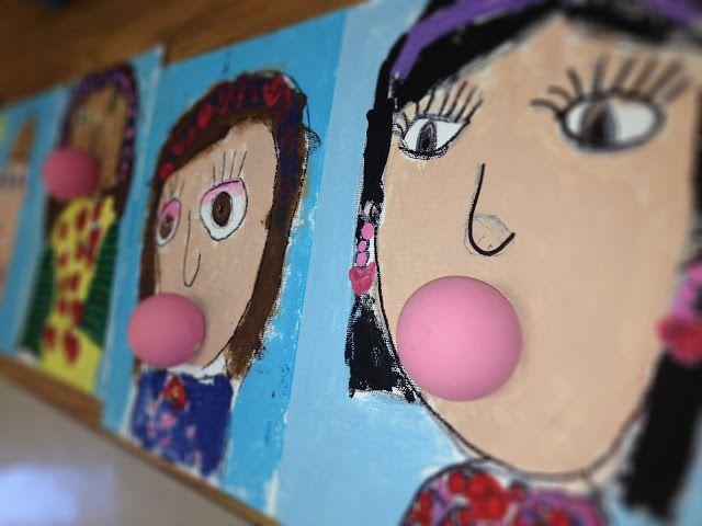 Self-portraits blowing gum bubbles (flat bottom wooden ball)