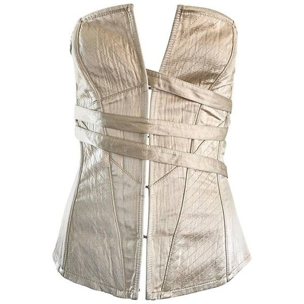 NWT La Perla 1990s Champagne Silk Vintage 90s Quilted Bustier Corset... ($795) ❤ liked on Polyvore featuring tops, corsette tops, la perla bustier, bustier corset tops, off white top and corset bustier