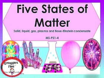 The Five States of Matter learning show, contains 32 slides that explain the five states of matter; 2 page handout with students scaffolded notes, and 3 pages of an assessment test. This power point presentation will help your students to understand: -The kinetic Theory of matter. -Plasma -Solid -Liquid -Gas -Bose-Einstein Condensate