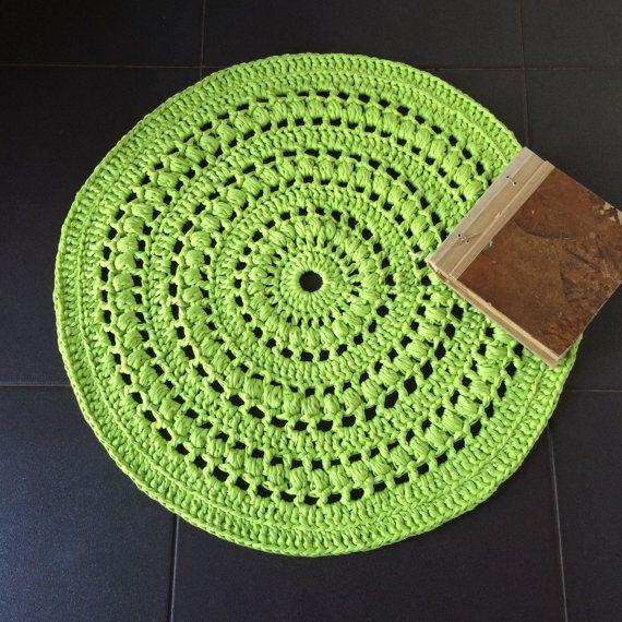 Crochet Doily Rug Lime Green