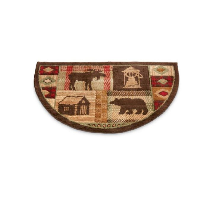 Wildlife Bear Moose Hearth Rug Fire Resistant Flame Retardant Protects Floor Around Fireplace Hunting Themed Half Moon Mat Use at Cabin
