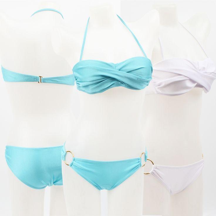 SWIMMART New Ringed Bottom Bikini Gathered Chest Leisure Holiday Bikini Push up Removable Neck Halter Swimwear for Women DK18