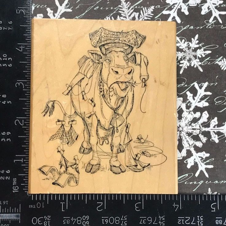 Art Impressions Rubber Stamp Cow Tangled in Clothes Line Country Farm Humor K81 #Stampendous