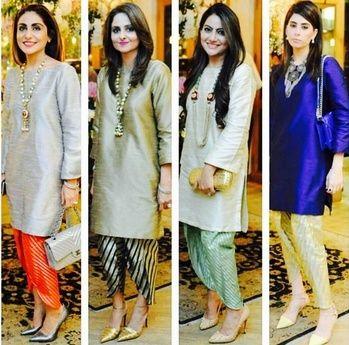 Multicoloured plain knee length kurtis with printed dhoti salwar