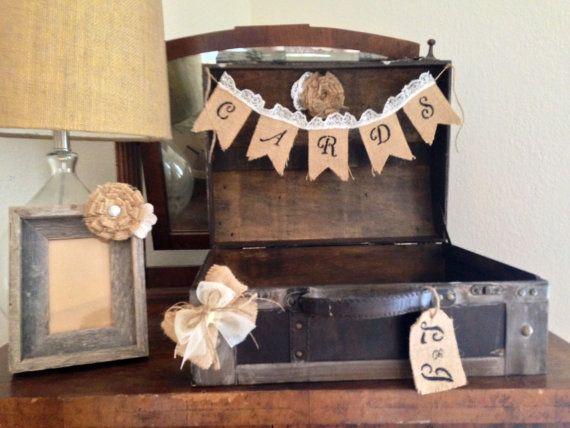 Wedding Card Box Vintage Suitcase Trunk Rustic Holder