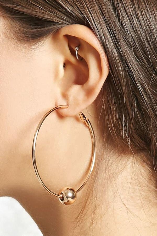 FOREVER 21+ Ball Hoop Earrings