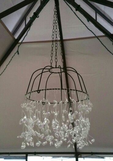 17 best images about do it yourself on pinterest christmas treats keyboard and stencils - Wire basket chandelier ...