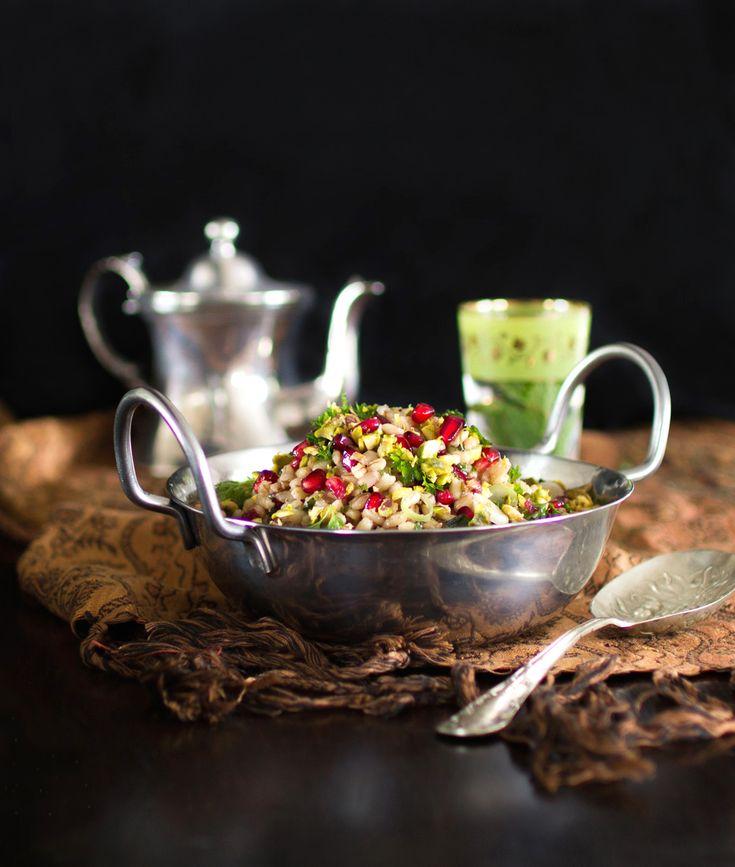 Pearl Barley, Pomegranate, Pistachio & Herb Salad
