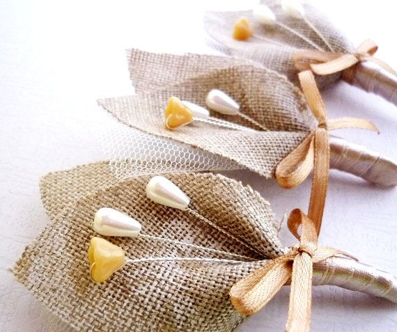 Rustic Wedding Men Accessories, Grooms Boutonnieres, Pin, Beige, Buttonhole, Groomsman, Country Weddings, White Tulle, Burlap, Shabby Chic via Etsy