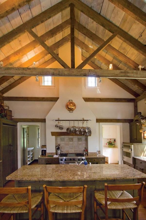Kitchen vaulted ceiling with open beams designs small for Decorative beams in kitchen