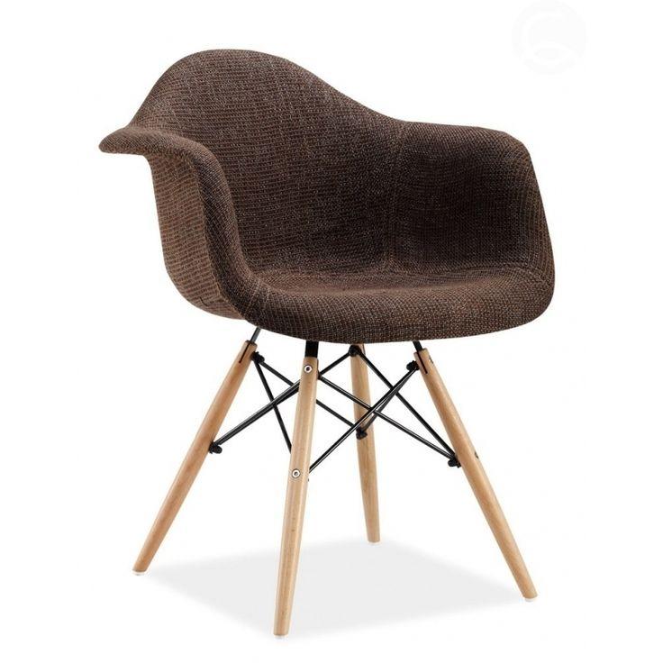 Designová židle DAW čalouněná, hnědá   www.designovynabytek.cz