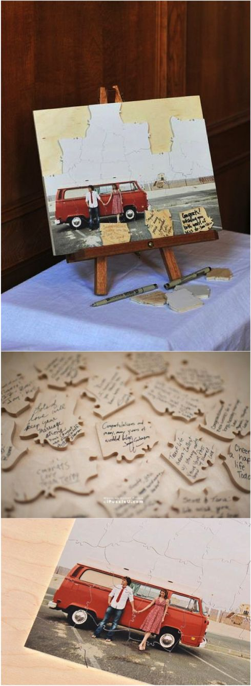 Custom Puzzle - Wedding Guest Book Alternative. Customize the puzzle with your favorite photo of you as a couple and have your guests sign the pieces.   Made on Hatch.co