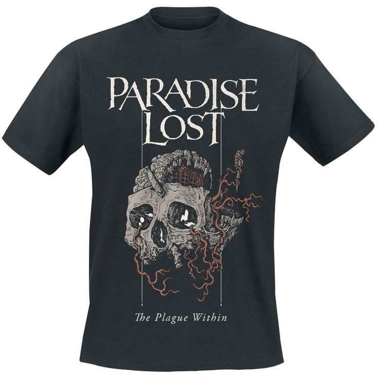 "#TShirt uomo nera ""Plague Within"" dei #ParadiseLost con ampia stampa frontale."
