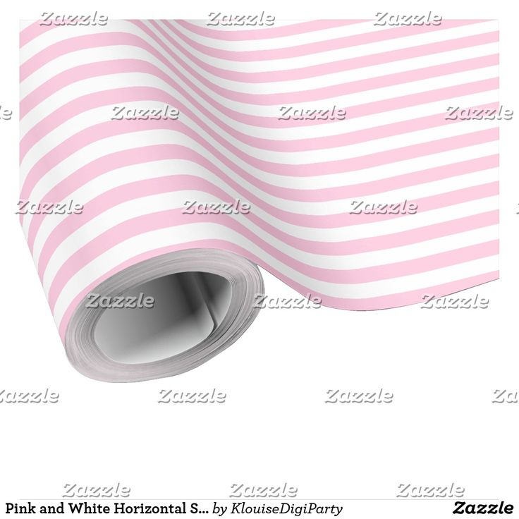 Pink and White Horizontal Stripes Pattern Wrapping Paper