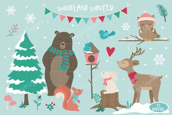 Woodland Winter Clipart Set Digital Png Files 40 Winter Etsy Winter Clipart Graphic Illustration Clip Art
