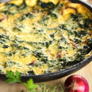 "Spinach and Mushroom Bake. This can be vegetarian by using  ""NO Chicken Broth"" in place of the chicken broth."