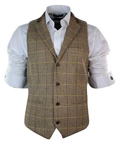 Mens Vintage Tweed Check Waistcoat Herringbone Light Brown Oak Retro Slim Fit Marc Darcy http://www.amazon.co.uk/dp/B00UAOW2ZC/ref=cm_sw_r_pi_dp_2ezKwb182PTMQ