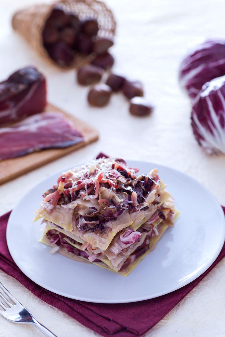 Lasagne con radicchio, crema di castagne e speck: tutto l'autunno in una lasagna! [ Lasagna with radicchio, chestnut cream and speck]