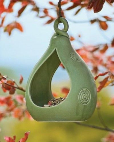 Pottery bird feeder do this with my gourd mold.