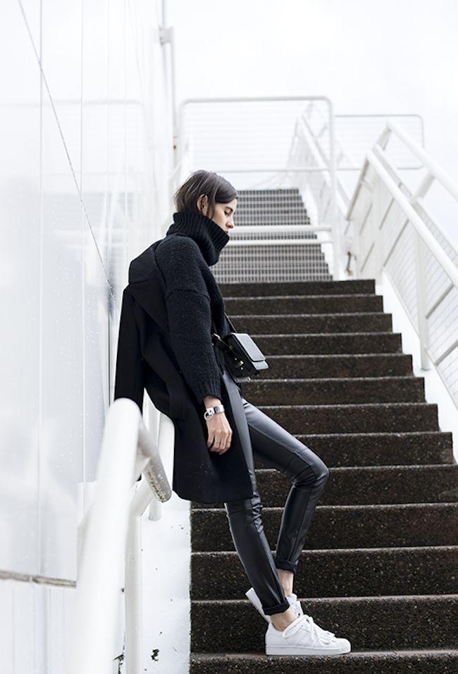 Bloglovin Blog All Black Look Winter Style Layers Chunky Turtleneck Sweater Coat Crossbody Bag Leather Pants Adidas Sneakers Via Melissa Araujo