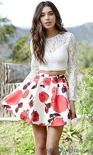 Jolene Short Two-Piece Floral Printed Homecoming Dress