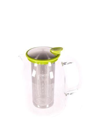 """Pichet à thé glacé """"Mist"""" en verre avec bordure de couleur  lime"""