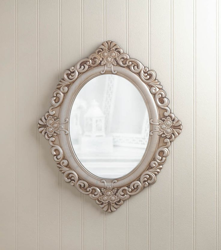 Distressed IVORY shabby vintage off white carved wood bathroom entry Wall Mirror #GENERIC #FrenchCountry