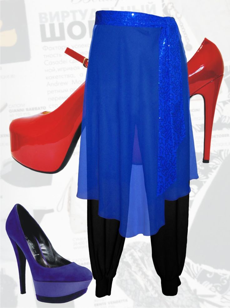 47$ Трикотажные брюки-шаровары для полных девушек с нарядной съёмной шифоновой юбкой Артикул 627, р50-64 Брюки трикотажные большие размеры  Брюки шаровары большие размеры  Брюки черные большие размеры