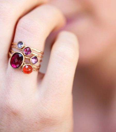 ruby ring, Personalized stacking rings http://www.justtrendygirls.com/personalized-stacking-rings/