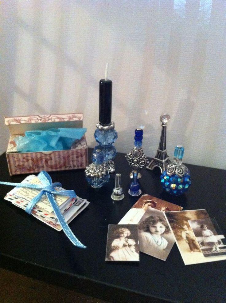 Barbie Miniature Mail Photo Blue Letters Vanity Perfume Tray by Piera 1:6 Scale #PieraArt