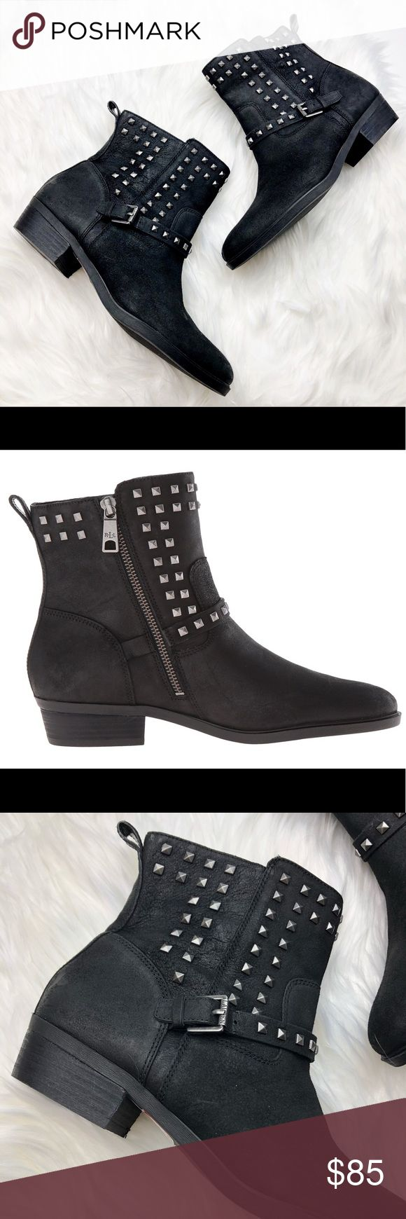 New Ralph Lauren Studded Leather Moto Boots So chic and perfectly on trend! Perfect dressed up or down. Brand new without box. Silver stud details. Size 9.5. Interior zip. No trades!! Lauren Ralph Lauren Shoes Ankle Boots & Booties