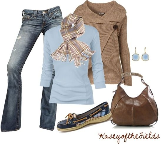 Blue long sleeve, camel scarf, flare jeans and kohls hoodie