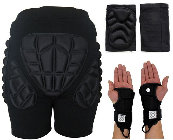 2017 New Outdoor Skiing Snowboarding Skateboarding Safety Sports Protection Sets Hip Pad + 2 Knee Pads + 2 Ski Gloves