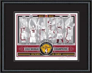 2013 NBA ChampionsSports Propaganda Framed Screen Print- Miami Heat. Capture the memory of seeing LeBron James and the Miami Heat capture their second straight title with a framed handmade 2013 NBA Champions Limited Edition Sports Propaganda Screen Print.  Limited edition of 500. Each print is signed by artist Chris Speakman and individually numbered on 100% cotton, archival Stonehenge brand paper, double matted with high-end white-core mat board, and framed with a one-inch wood molding…