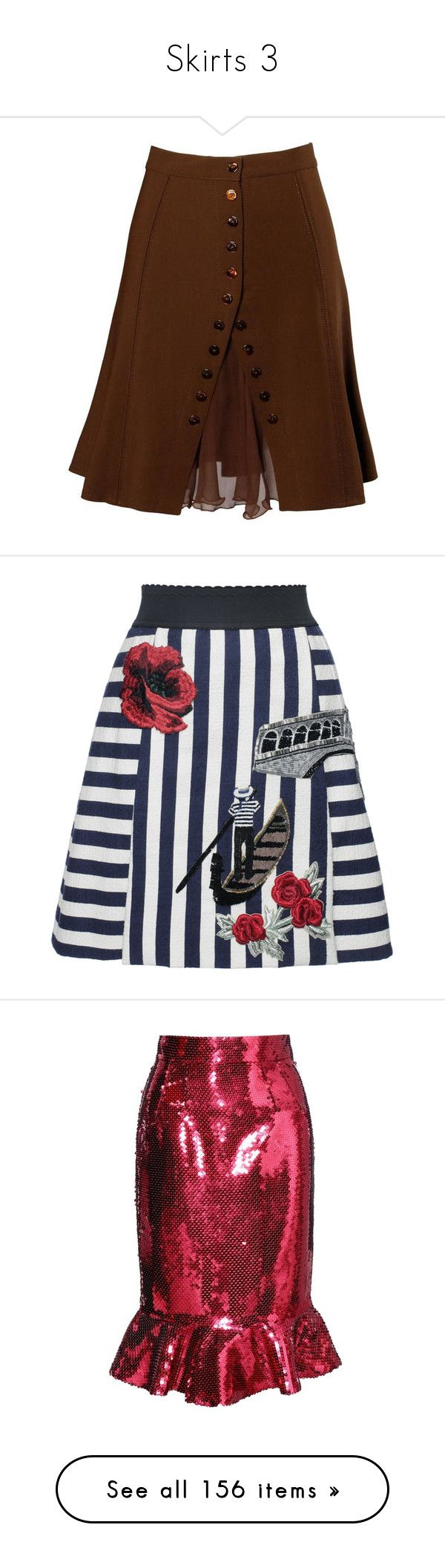 """""""Skirts 3"""" by missmimimj ❤ liked on Polyvore featuring skirts, brown, woolen skirt, see-through skirts, brown skirt, blumarine skirt, brown wool skirt, striped skirts, beaded skirt and navy striped skirt"""