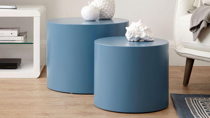 Round Matt Blue Side Tables | Set Of 2 Side Tables | UK