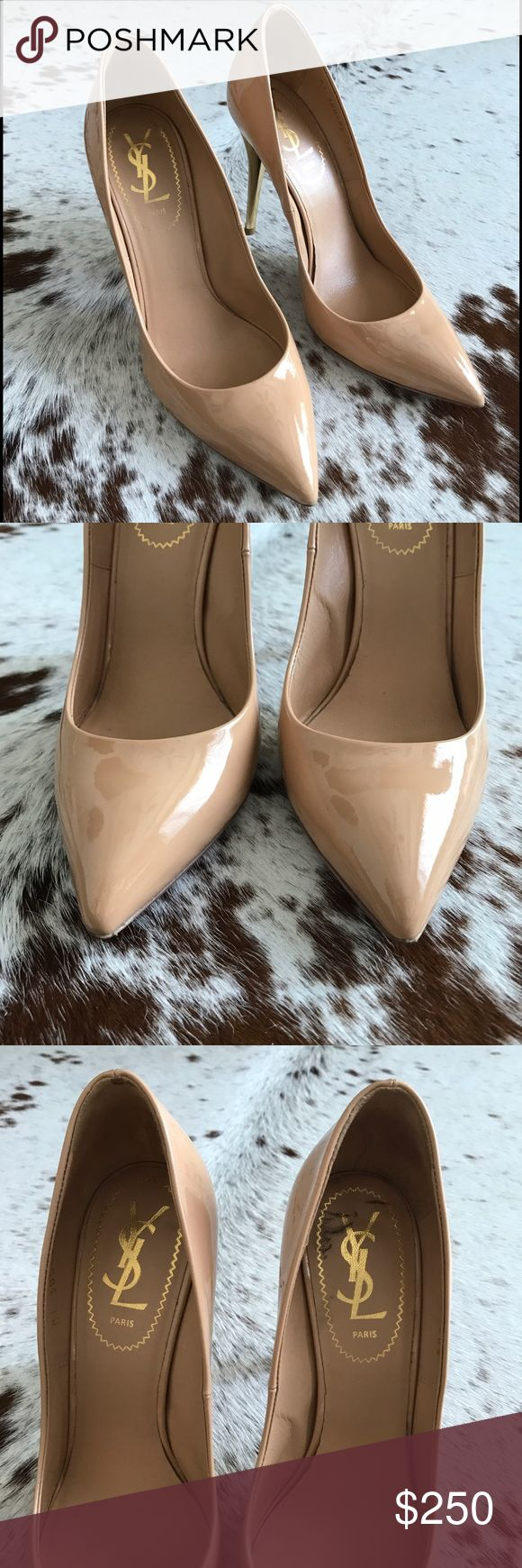 YSL nude patent heels 38.5 Classic Saint Laurent heels in a gorgeous nude color. Wore these a few times but they are just a big too big on me. Gold on the inside of the heels and pointed toes. No marks on the leather. Only flaw is a tiny imperfection in the leather on the back heel as shown in pic. 100% authentic. No box or dust bag. Yves Saint Laurent Shoes Heels