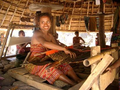 Timorese woman weaving a warp ikat textile. Kupang, West Timor Indonesia.