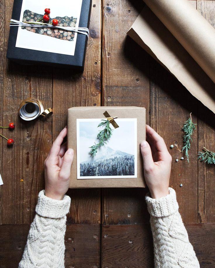Kraft paper + wintry photo + greenery + gold washi tape = lovely DIY gift wrap!