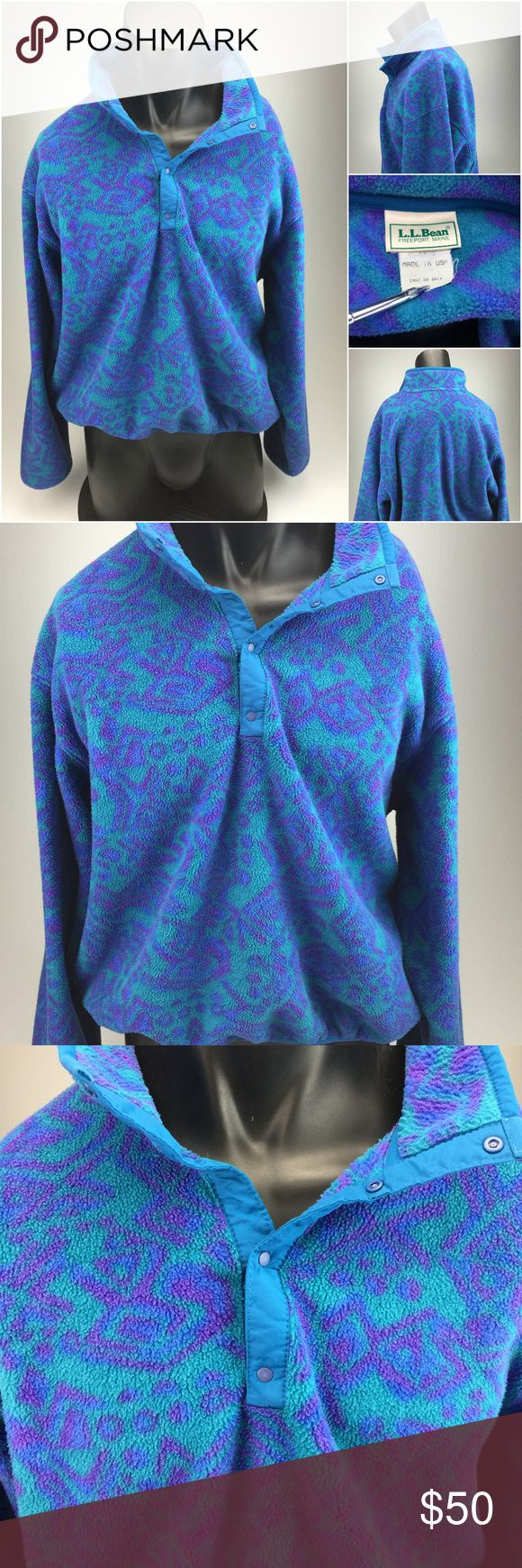 Vtg LL Bean Aztec design fleece pullover XL G4-5-5 Description: Vintage LL Bean Aztec pattern Snap T fleece pullover Brand: LL Bean Style: Pullover Sleeve: Long Size: tagged as an XL but please view measurements below Color: blues Condition: Pre-owned - nice condition  The measurements are as follows laying flat:  1. Back shoulder seam to seam - 23 inches  2. Arms - 24 inches  3. Under arm to Under arm - 27.5 inches  4. Top to bottom - 24 inches L.L. Bean Shirts Sweatshirts & Hoodies
