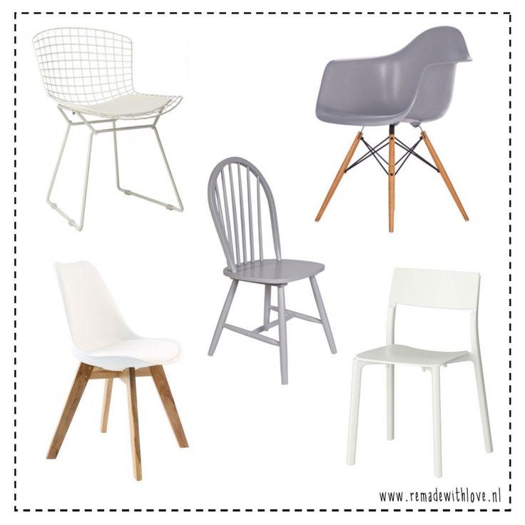 Hippe eetkamer stoelen met een scandinavische design en allemaal onder de honderd euro! Draadstoel en kuipstoel van vintagelab15, spijlenstoel van WOOOD, witte stoelen van loods 5 en IKEA