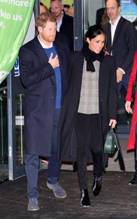 "daiilycelebs: "" 1/18/18 - Meghan Markle + Prince Harry visiting Star Hub in Cardiff, Wales. """