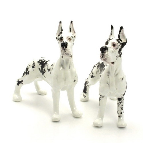 SALT & PEPPER DOG STATUE GREAT DANE CERAMIC SHAKERS DOG