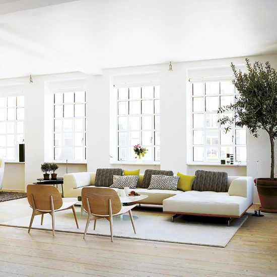 Danish loft - sofa: Wood Chairs, Living Rooms, Window, Loft Apartment, Seats Area, Interiors, Open Plans Living, Danishes, Bright Pillows